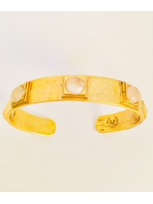 Bracelet jonc en vermeil et quartz rose
