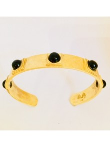 Bracelet jonc en argent et onyx