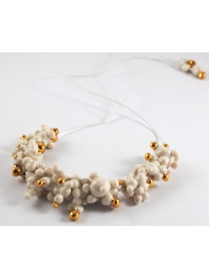 "COLLIER ""PEARL-CELAIN"" BLANC ET OR"