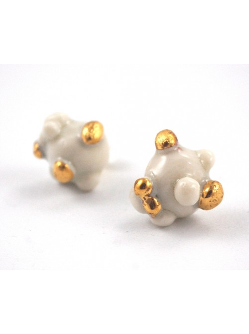 """BO PUCES """"PEARL-CELAIN"""" BLANC ET OR"""