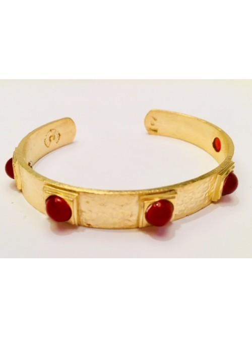 Bracelet jonc en vermeil et pierres cornaline
