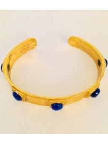 Bracelet jonc en vermeil et lapis lazuli