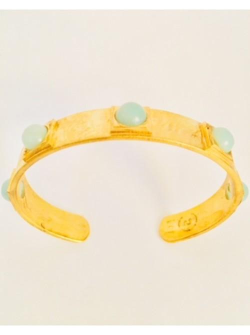 Bracelet jonc en vermeil et amazonite turquoise